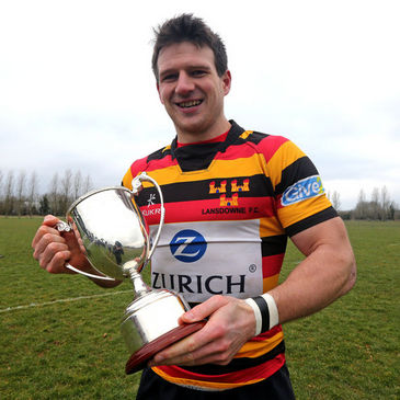 Lansdowne captain Ross McCarron with the Mick English Cup