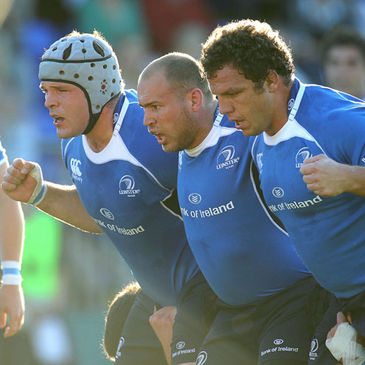 The Leinster front row of Mike Ross, Richardt Strauss and Heinke van der Merwe