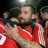 Rua Tipoki and Lifeimi Mafi console each other after Munster came so close to a famous win