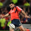Munster centre Rua Tipoki, whose night was prematurely ended by a knee injury, is seen kicking clear