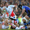 Ulster scrum half Ruan Pienaar is pictured on the run, closely followed by Bath's ex-England lock Danny Grewcock