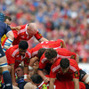 Munster put bodies into a ruck as Paul O'Connell and company control possession at the base