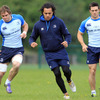 Rhys Ruddock, Isa Nacewa and Eoin O'Malley train together during Tuesday's runout at UCD