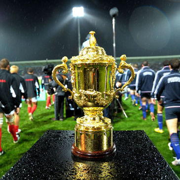 The Rugby World Cup trophy
