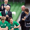 Eoin Reddan sees the funny side of things as he jokes around with IRFU head of performance analysis Mervyn Murphy and nutrionist Ruth Wood-Martin