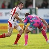 Stade Francais captain Sergio Parisse lines up a tackle on Ryan Caldwell as the Ulster lock looks for space