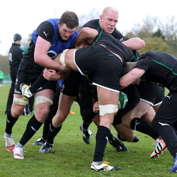 Donnacha Ryan and Paul O'Connell get stuck in during training