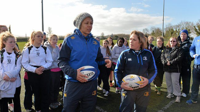 Leinster's Sophie Spence and Jennie Bagnall