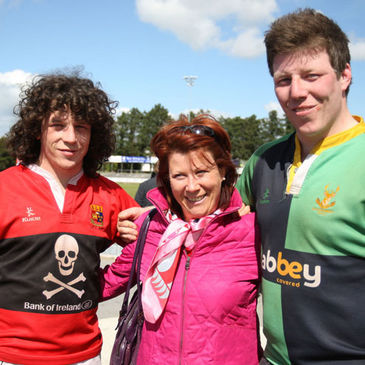 UCC captain Sam Cronin, Ballynahinch prop Jerry Cronin and their proud mum