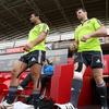Sam Tuitupou, who has signed for Sale Sharks, and Denis Leamy emerge from the tunnel at the Limerick venue