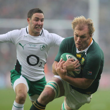 South African flanker Schalk Burger in action against Ireland