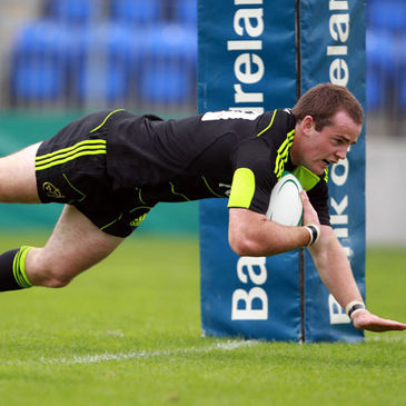 Scott Deasy dives over to score the third try for Munster 'A'