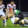Edinburgh's Scott Newlands gets hit hard by Connacht captain John Muldoon