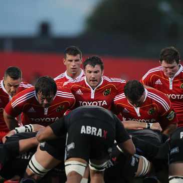 The Munster forwards prepare for a scrum