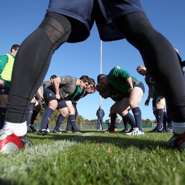 The Ireland forwards work on their scrummaging