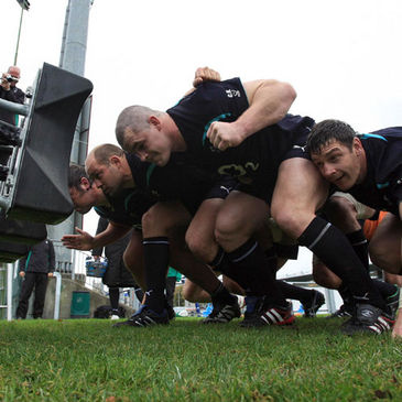 The Ireland forwards work on their scrummaging at Donnybrook