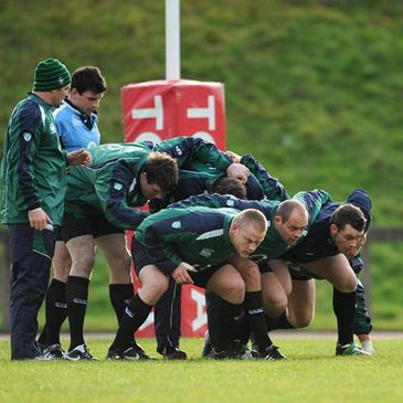 The Ireland forwards work on their scrummaging at UL