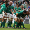 The Ireland forwards get set for a scrum during the second half, with Eoin Reddan now on at scrum half