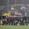A view of the heavy rain as Connacht scrum half Cillian Willis waits to feed the ball in