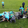 An overhead view as consultant scrum coach Greg Feek takes the forwards for a scrummaging session at Rugby League Park