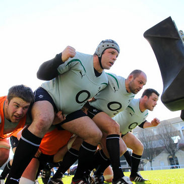 The Irish forwards fine-tune their scrummaging
