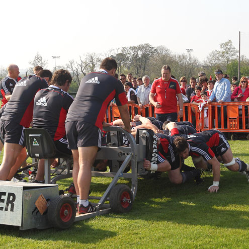 The Munster fans watch the forwards scrummage
