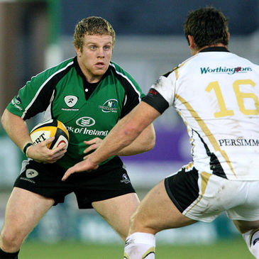 Sean Cronin takes on Huw Bennett at the Sportsground