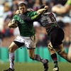 Harlequins lock Tomas Vallejos goes high as he tries to stop Connacht's Sean Cronin