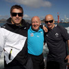 Masseurs Willie Bennett and Dave Revins were joined by Sean O'Brien for a photograph as the boat travelled along the shores of Otago Harbour and the Pacific Ocean
