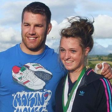 Sean O'Brien with young cyclist Laura Murphy