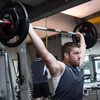 Sean O'Brien performs a lift in the gym in Queenstown, Ireland's training base until they fly to New Plymouth on Thursday