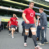 Back rowers Sean O'Brien and Jamie Heaslip make their way out onto the pitch at the Dublin 4 venue