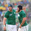 As the rain falls in Rotorua, Jamie Heaslip congratulates Sean O'Brien after he broke through for Ireland's second try in their Rugby World Cup win over Russia