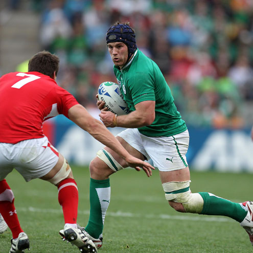 Sean O'Brien takes on Wales captain Sam Warburton