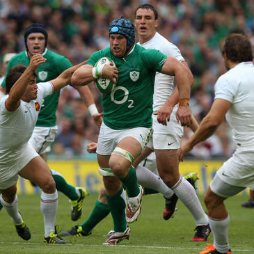 Ireland's Sean O'Brien on the attack against France