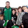 Rugby World Cup newcomer Sean O'Brien was happy to pose for photos with some of the local children who attended the welcome ceremony