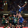 Flanker Sean O'Brien stretches back to try and secure lineout possession for Leinster, who beat Northampton's Aviva Premiership semi-final conquerors Leicester Tigers recently