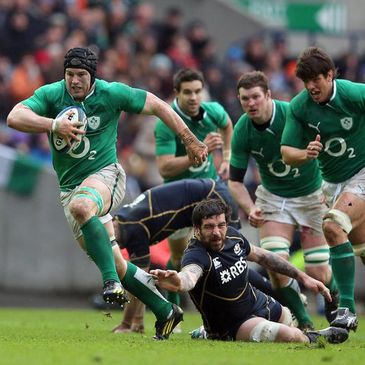 Sean O'Brien on the attack for Ireland