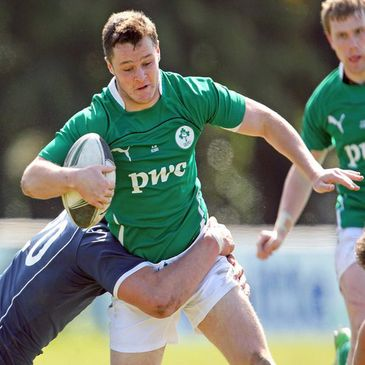 Sean O'Hagan in action for the Ireland U-18 Clubs side
