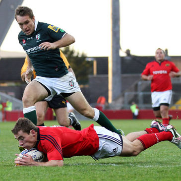 Sean Scanlon dives over for his try at Thomond Park