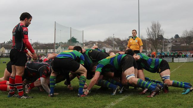 A scrum during Seapoint's bonus point win over Rainey