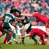 London Irish captain Seilala Mapusua was a key figure for his side, scoring a try and setting up another