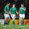 With Gordon D'Arcy and Brian O'Driscoll (blood injury) forced out, the Ireland back-line was rejigged with Ronan O'Gara in at out-half, Jonathan Sexton moving to inside centre and Andrew Trimble introduced on the wing