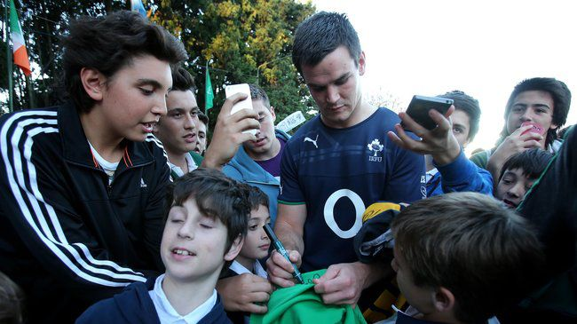 Jonathan Sexton is mobbed by young fans in Buenos Aires