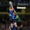 This high ball is out of Ben Foden's reach as Leinster winger Shane Horgan jumps well to claim it