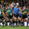 Northampton scrum half Lee Dickson and Leinster's long-serving winger Shane Horgan scrap for a high ball
