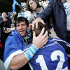 A emotional Shane Horgan is greeted by his friends and family after a famous win for Leinster