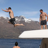 Fergus McFadden looks on as his Leinster colleague Shane Jennings jumps into New Zealand's longest lake