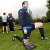 Flanker Shane Jennings limbers up at UCD before answering questions from the media about Saturday's semi-final