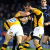 Leinster flanker Shane Jennings carries the ball into contact against Wasps' Josh Lewsey and Riki Flutey